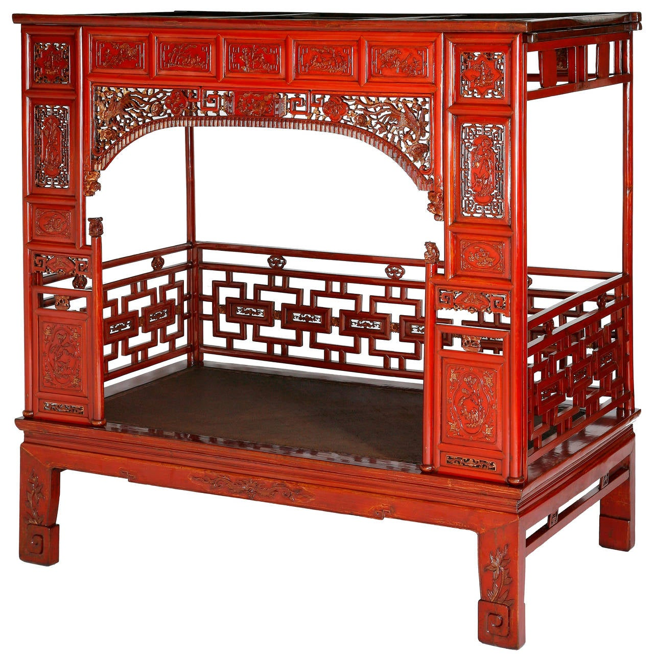 Antique red lacquer gilt six posted carved canopy or for Oriental furniture for sale