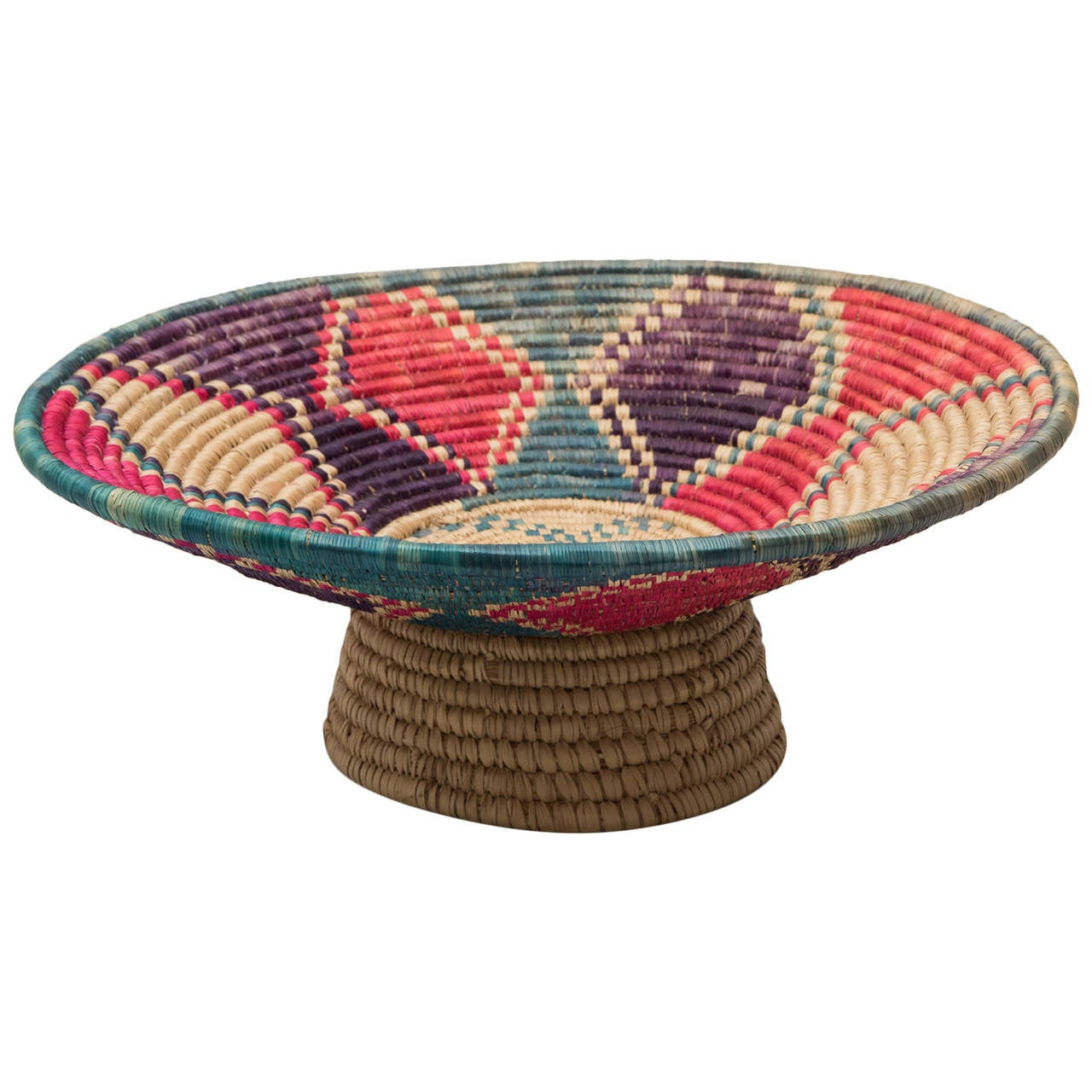 African Baskets: Colorful Vintage Footed African Basket Or Centerpiece At