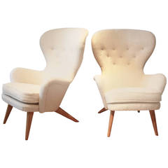 Pair of High Back Armchairs Designed by Carl Gustav Hiort af Ornäs