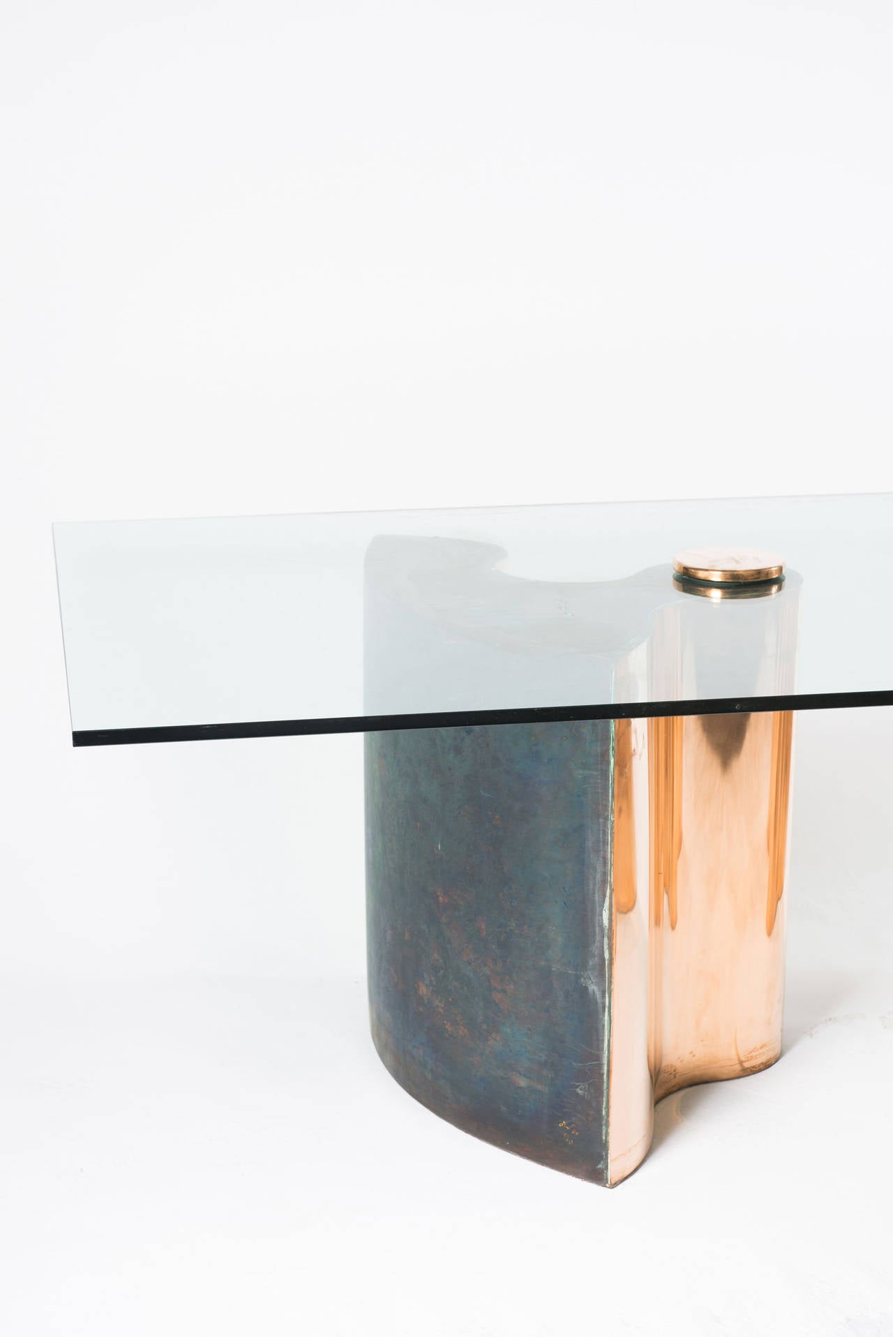 Unique dining table, dated 1984 cloud shaped bases made of copper-plated brass.