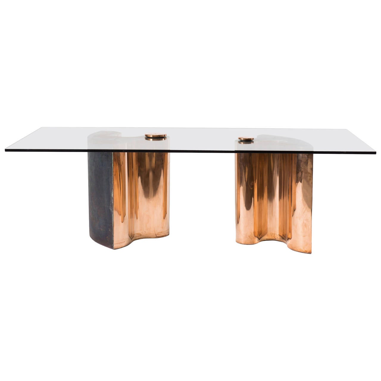 Unique Dining Table Brass Copper Plated Colorless Glass  : 2961252l from www.1stdibs.com size 1280 x 1280 jpeg 44kB