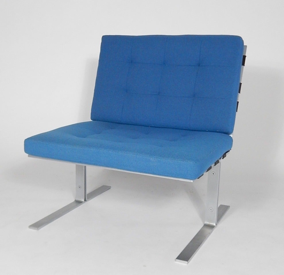 Mid Century Flatbar Steel And Rubber Strap Lounge Chairs