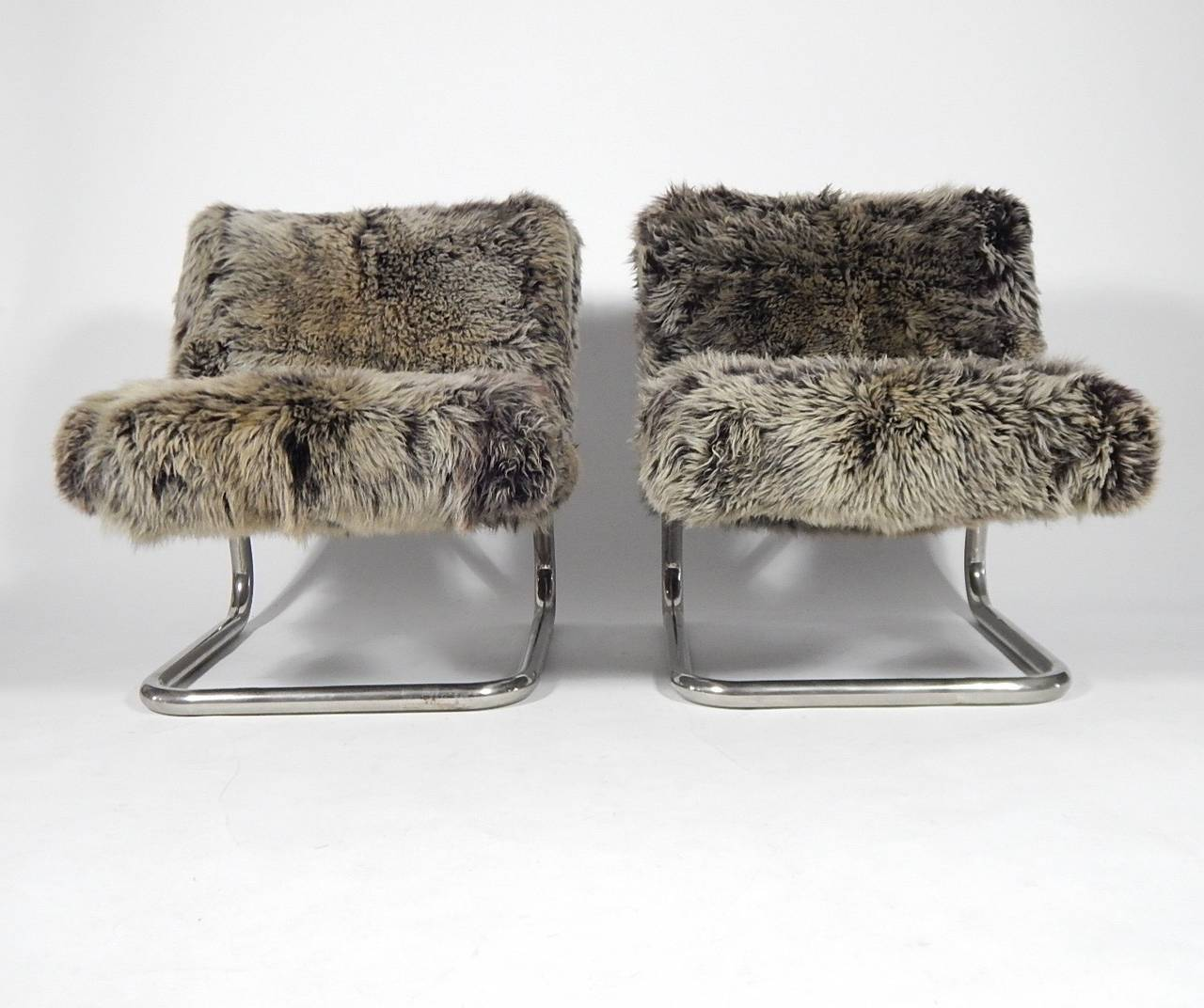 Pair Of Tubular Chrome And Faux Fur Lounge Chairs, 1970s