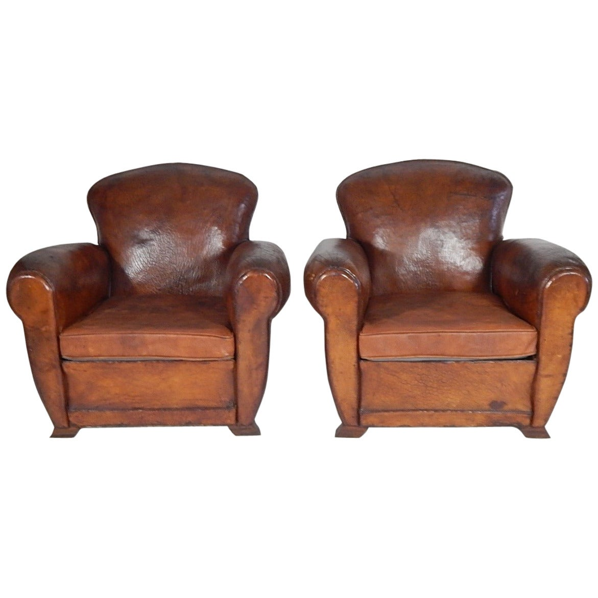 Pair Of French Art Deco Leather Club Chairs Circa 1930 At 1stdibs