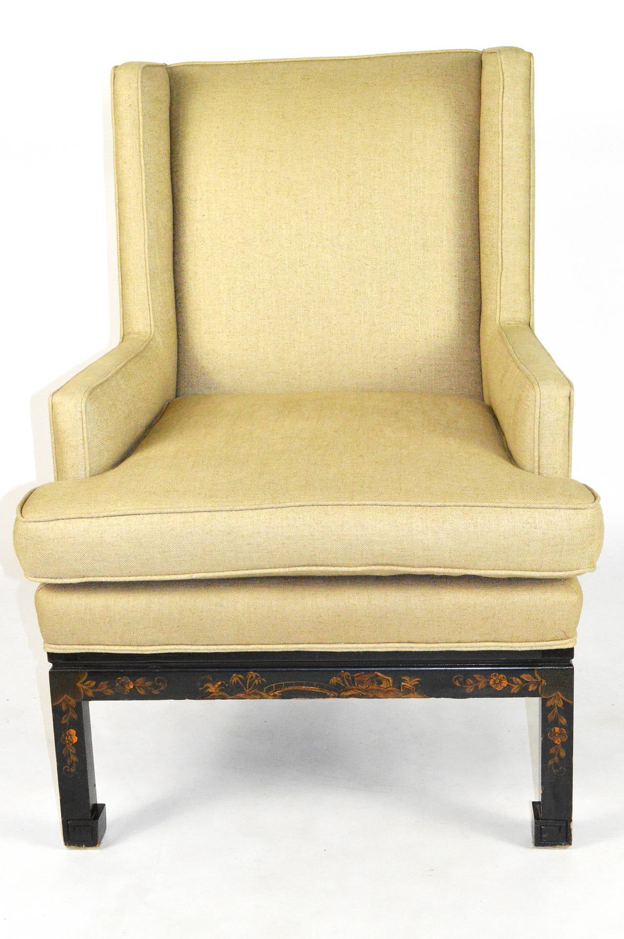 American Mid-20th Century Chinese Chippendale Style Wingback Armchair For Sale
