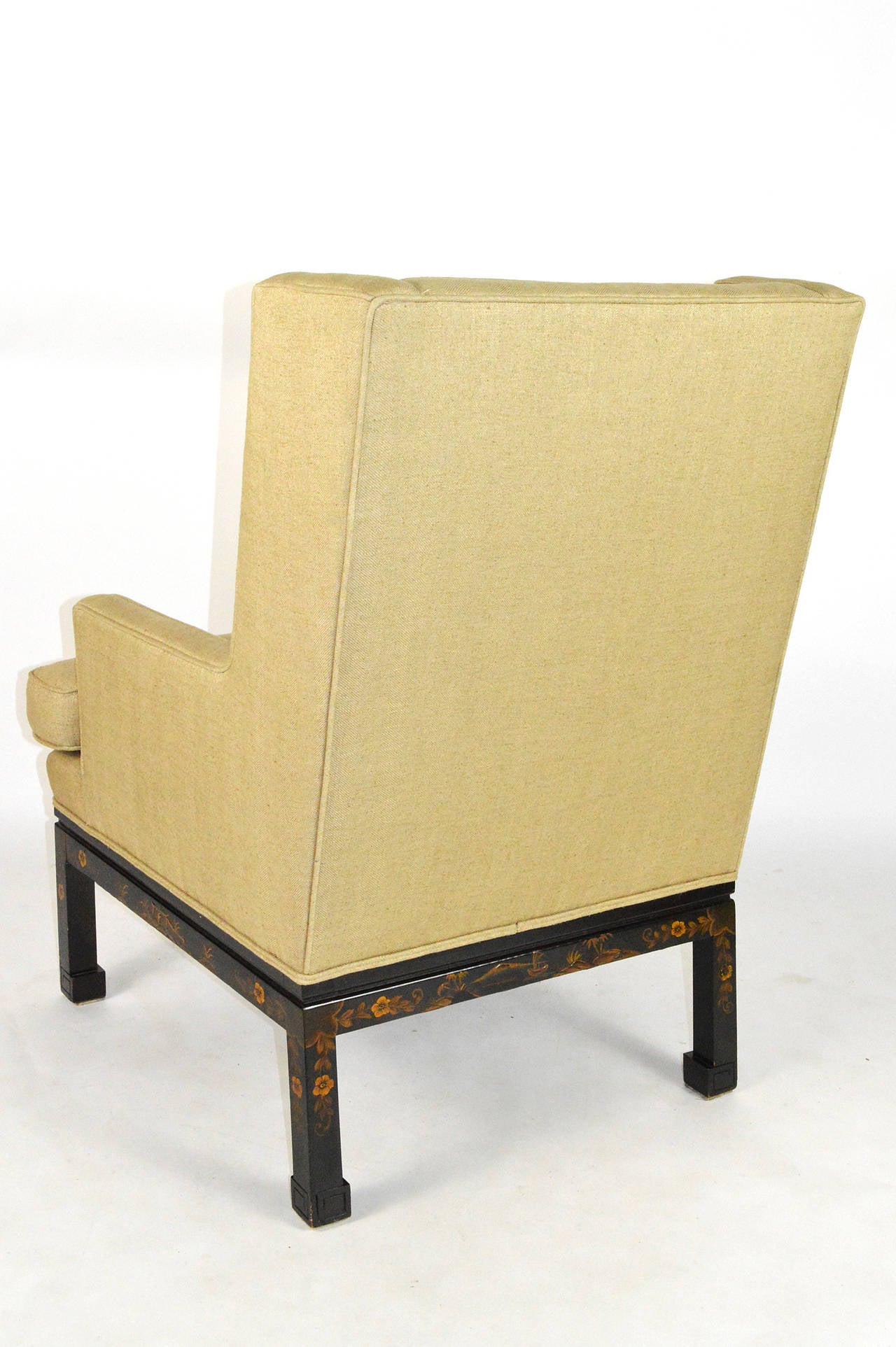Painted Mid-20th Century Chinese Chippendale Style Wingback Armchair For Sale