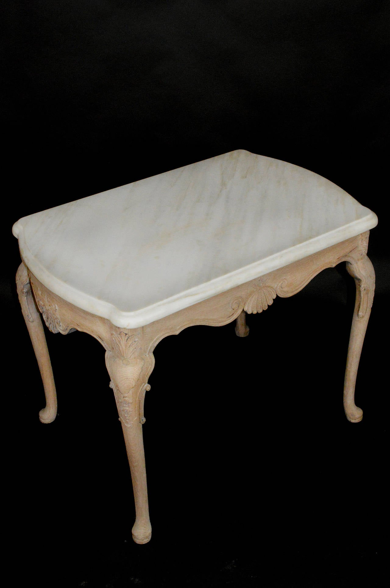Queen Anne English Limed Oak Marble-Top Side Table For Sale