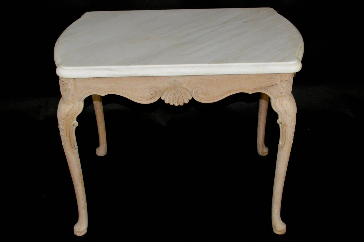 English Limed Oak Marble-Top Side Table 4