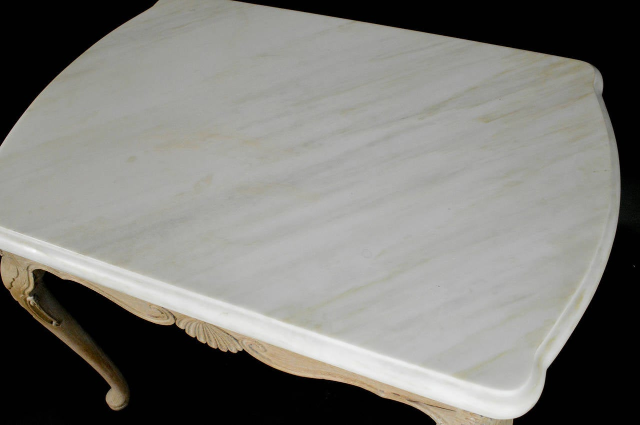 English Limed Oak Marble-Top Side Table 2