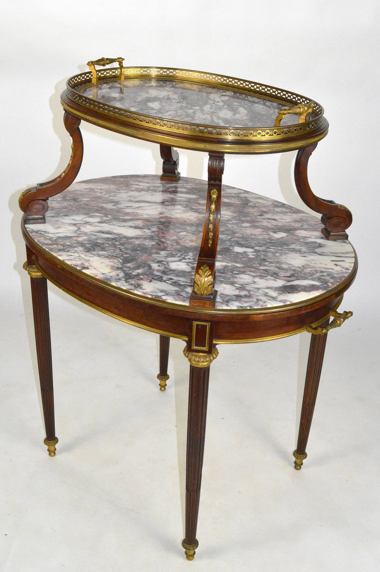 French Louis XVI Style Gilt Bronze Mounted Two Tier Marble Pastry
