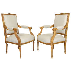 Pair of Carved Louis XVI Style French Armchairs
