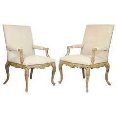 Pair of French Regence Style Gray Painted Carved Bergeres