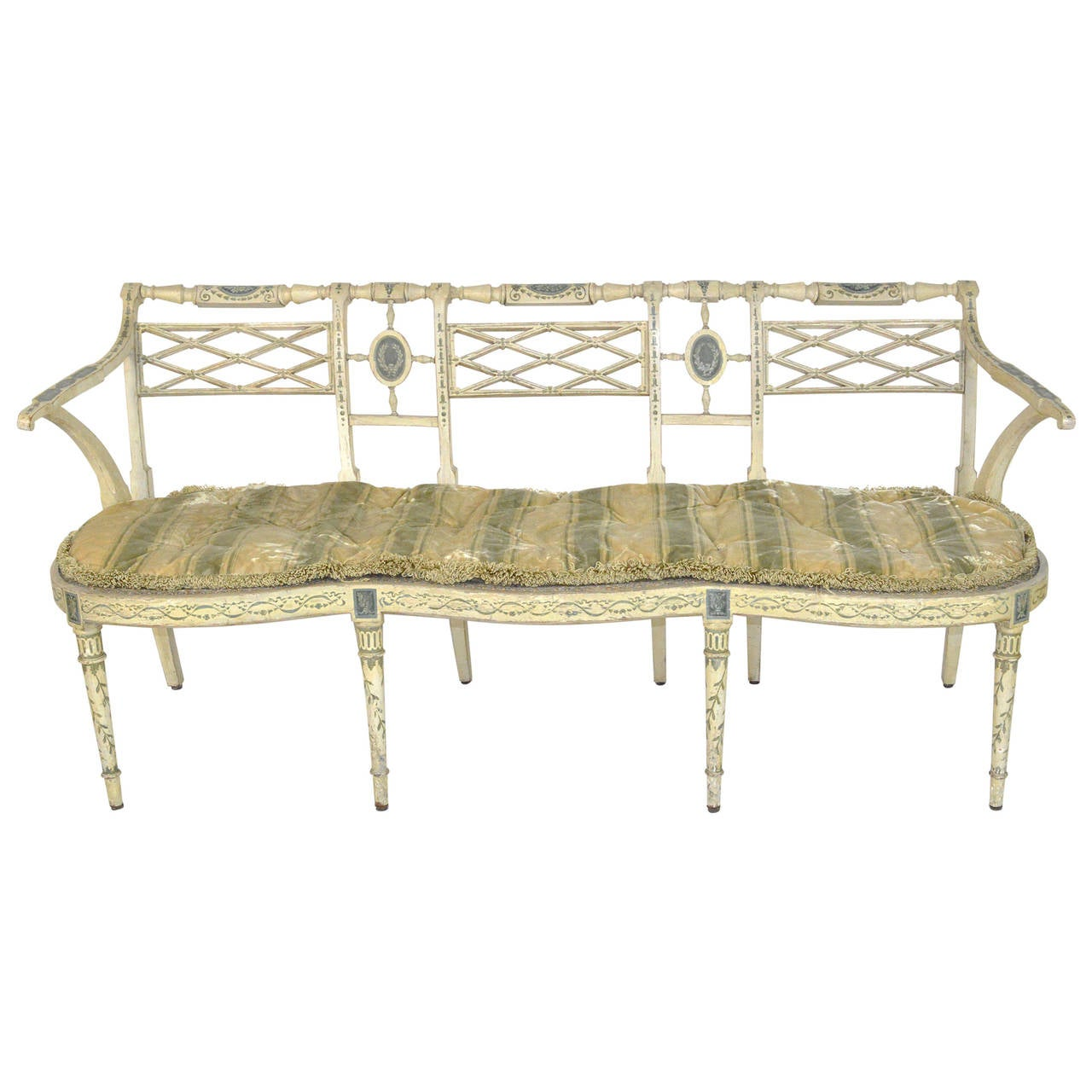 Neoclassical Style Three Seat Painted Settee 19th Century For Sale At