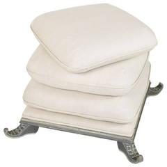 Italian Ottoman or Pouf, Stacked Pillow Motif
