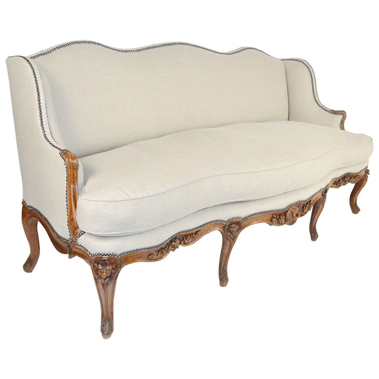 French louis xv style serpentine sofa canape at 1stdibs for Louis xv canape sofa