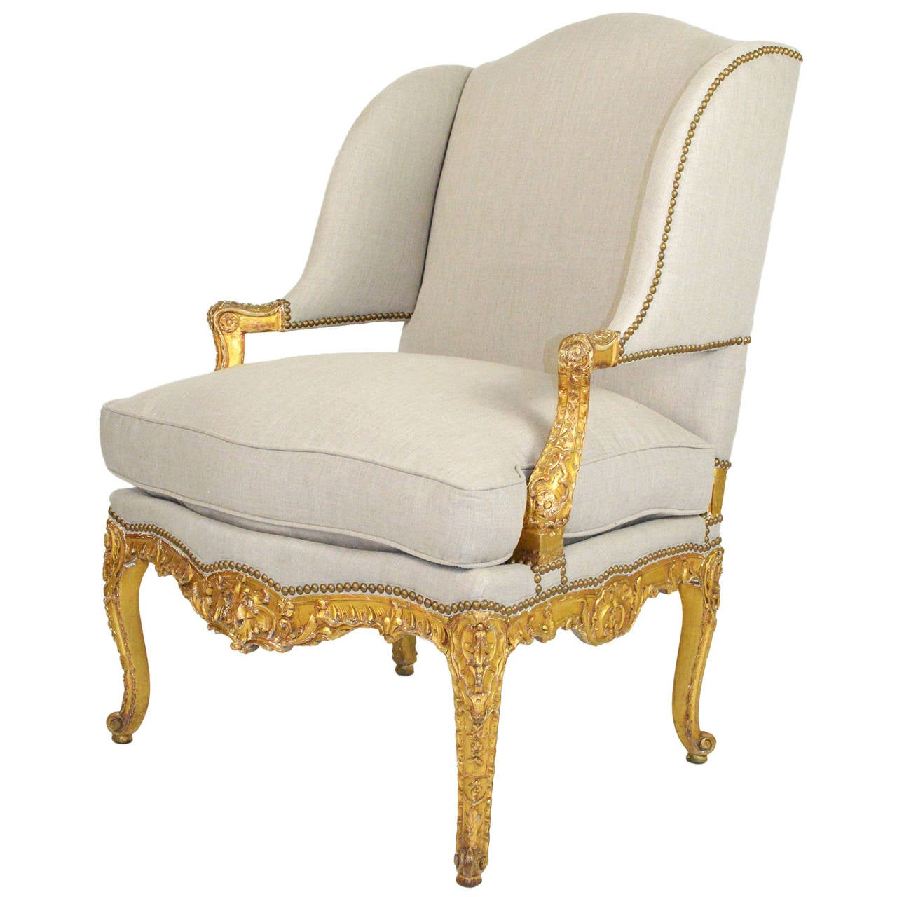 french louis xv style giltwood fauteuil wing chair at 1stdibs. Black Bedroom Furniture Sets. Home Design Ideas