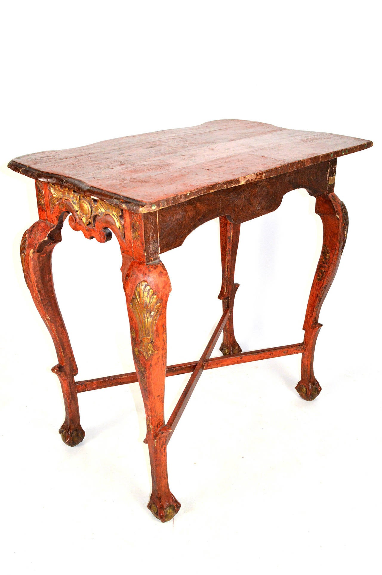 18th century painted and giltwood console table at 1stdibs for Painted foyer tables