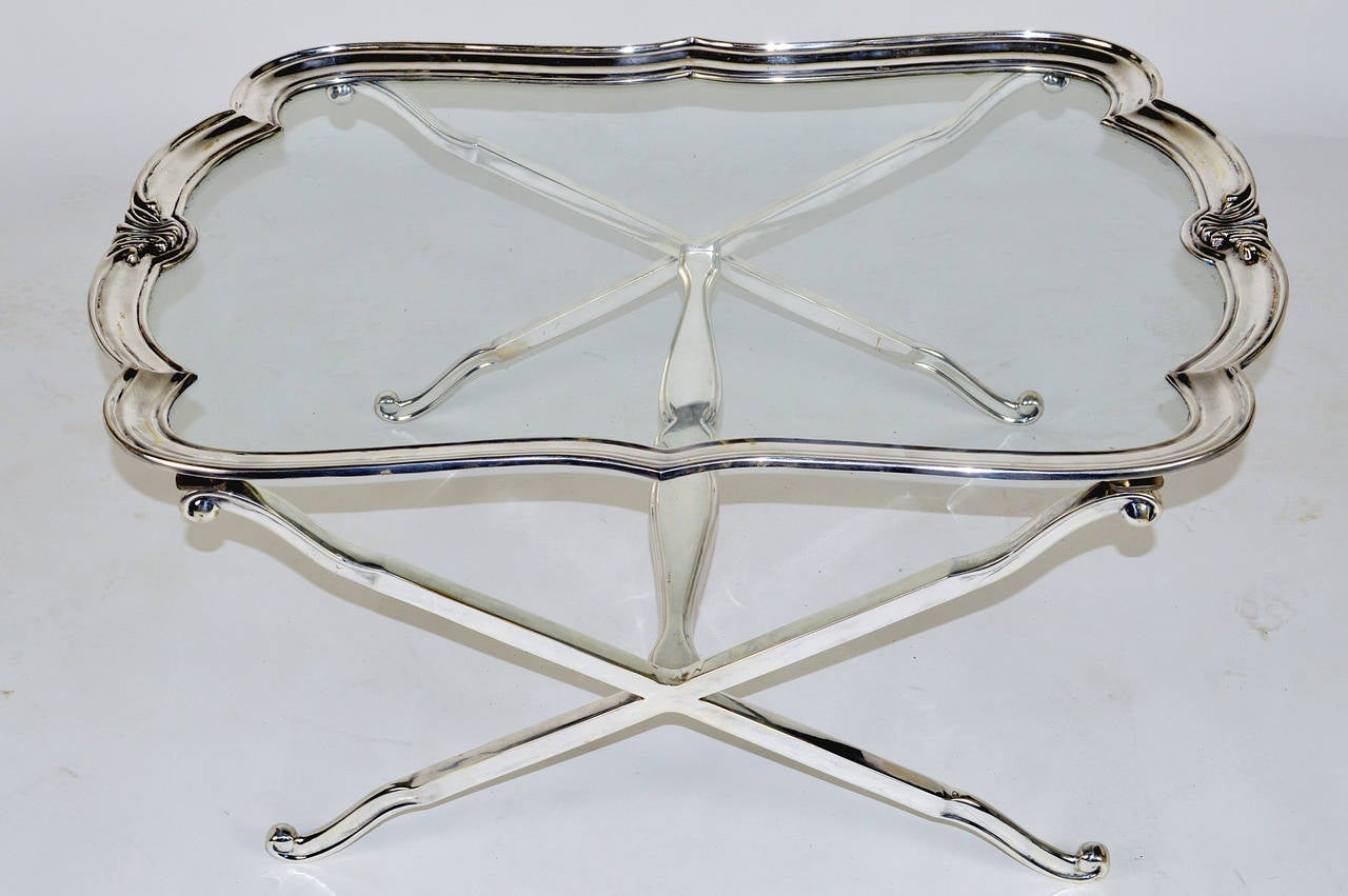 Silver Plated And Glass Coffee Table Mid 20th Century Cocktail Table