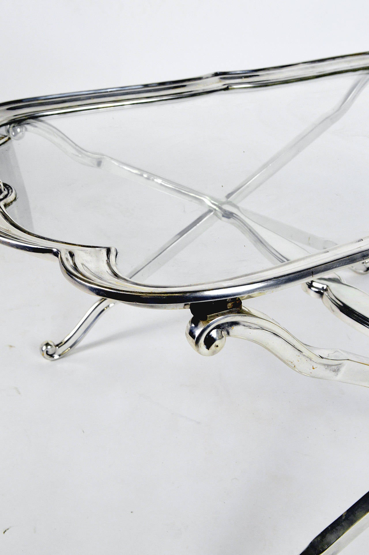 Hollywood Regency Style Silver Plated And Glass Coffee Table At 1stdibs