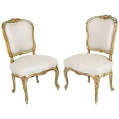 Pair of Louis XV Style Giltwood Painted Side Chairs
