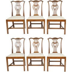 Set of Six English Chippendale Style Carved Mahogany Side Chairs