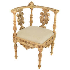 19th Century Italian Baroque Style Carved Wood Corner Chair