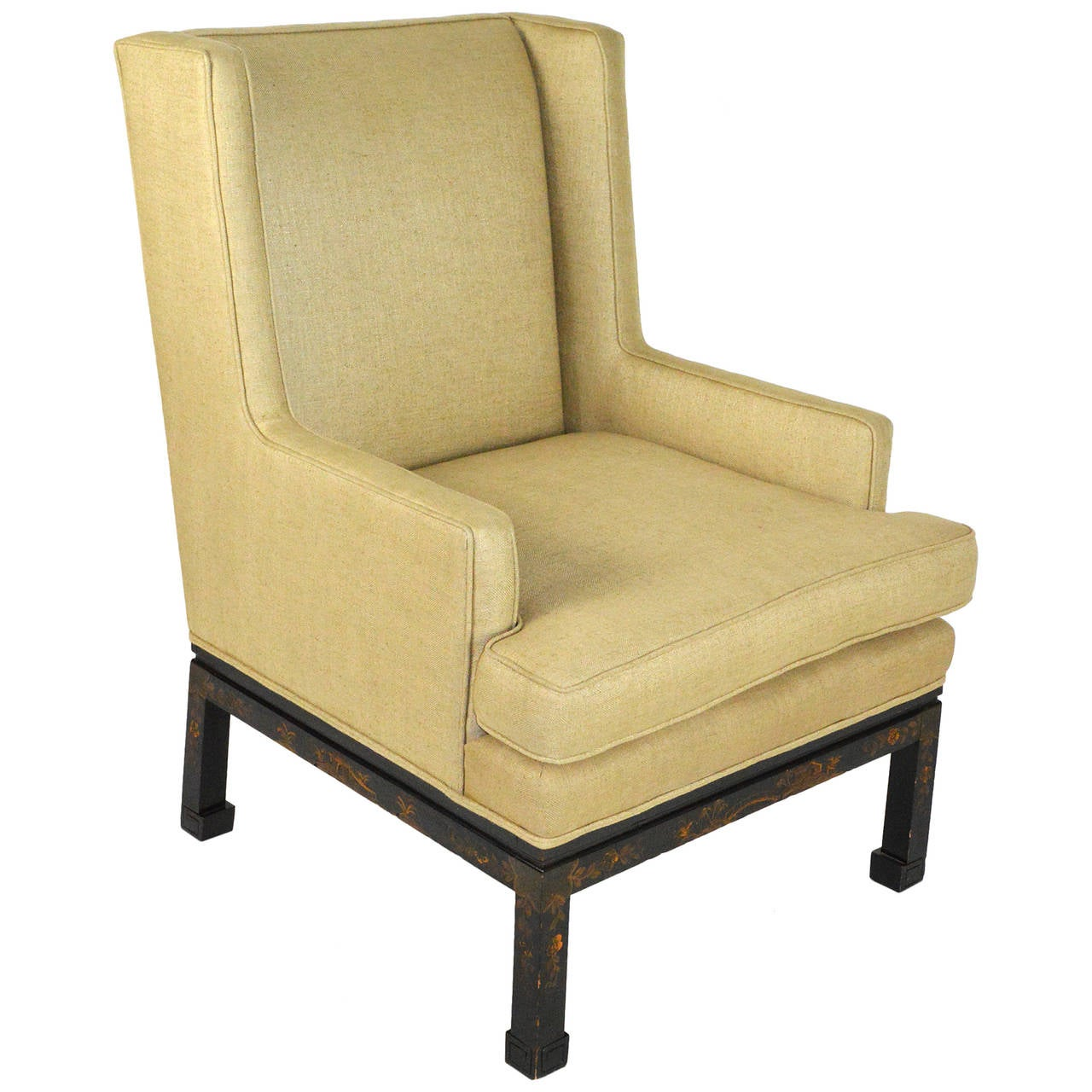 Mid-20th Century Chinese Chippendale Style Wingback Armchair For Sale