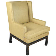 Mid-20th Century Chinese Chippendale Style Wingback Armchair