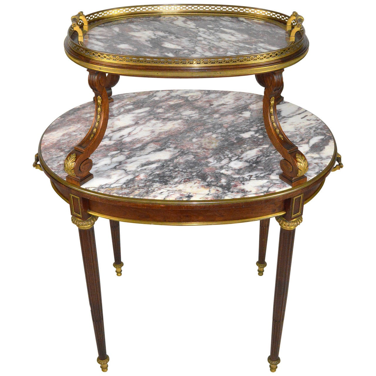 Superior French Louis XVI Style Gilt Bronze Mounted Two Tier Marble Pastry Table 1