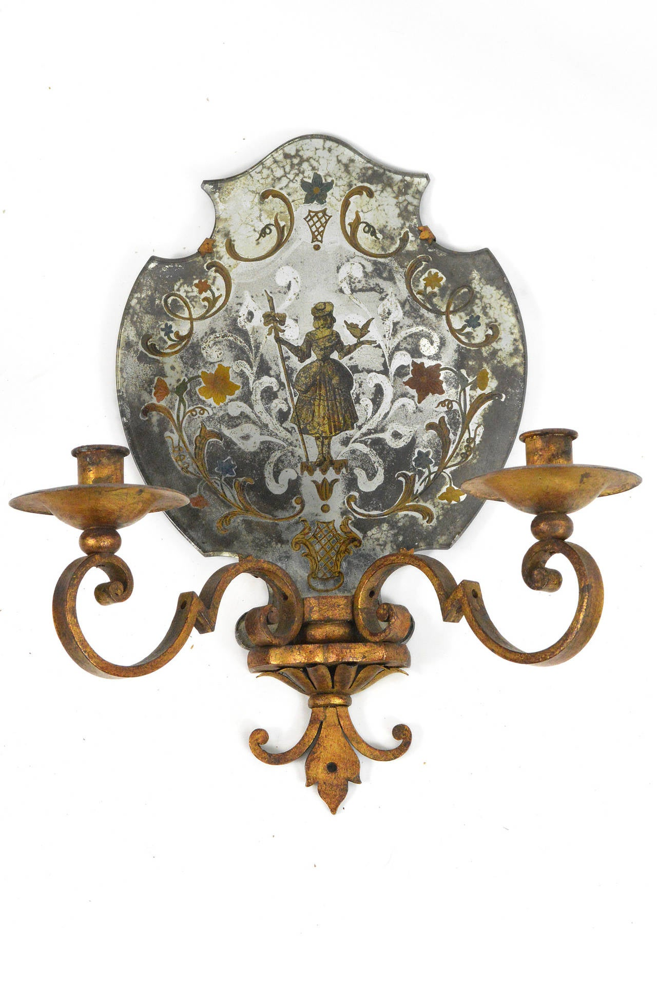 Baroque Pair of Venetian Style Mirrored Two-Arm Wall Sconces For Sale