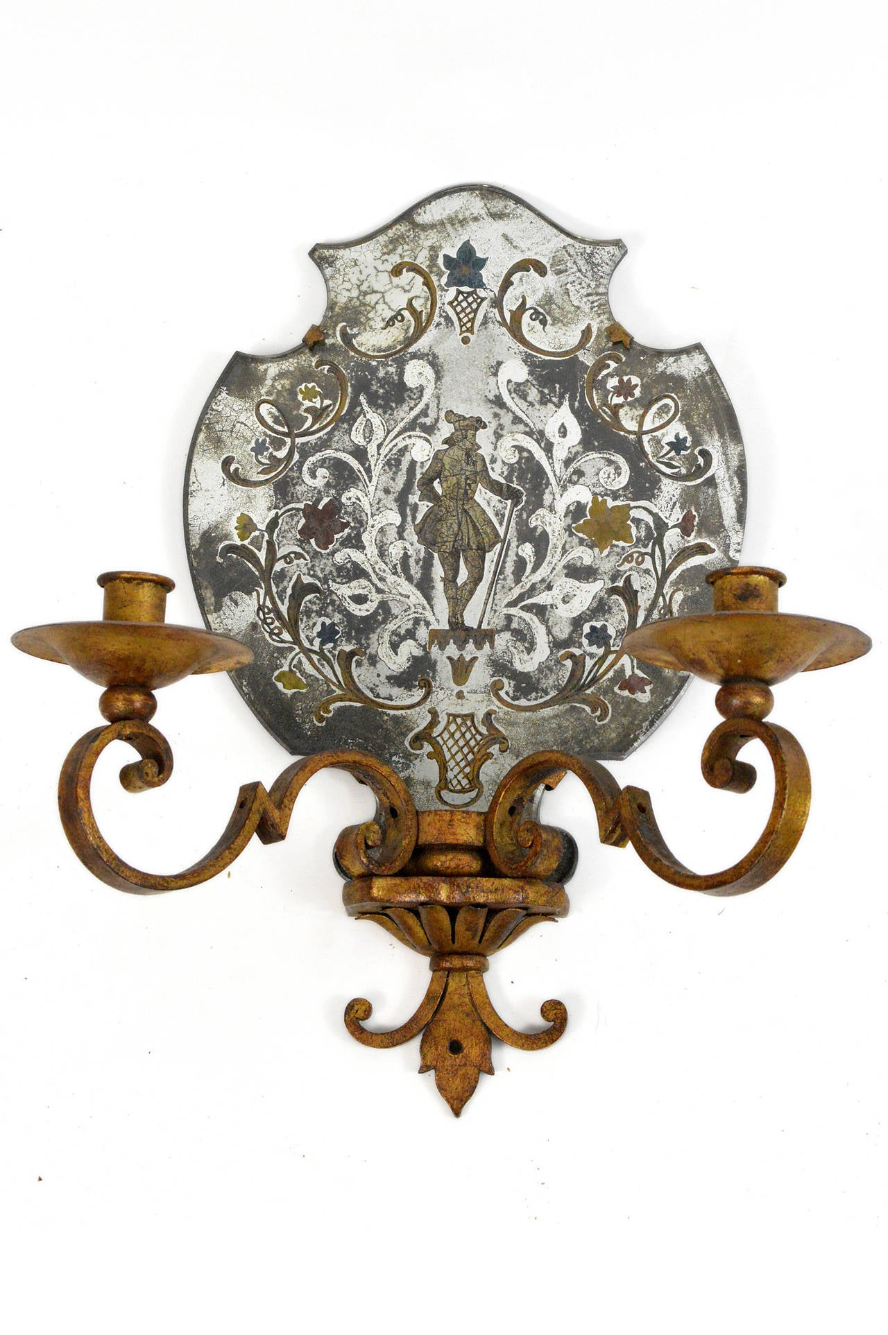 French Pair of Venetian Style Mirrored Two-Arm Wall Sconces For Sale