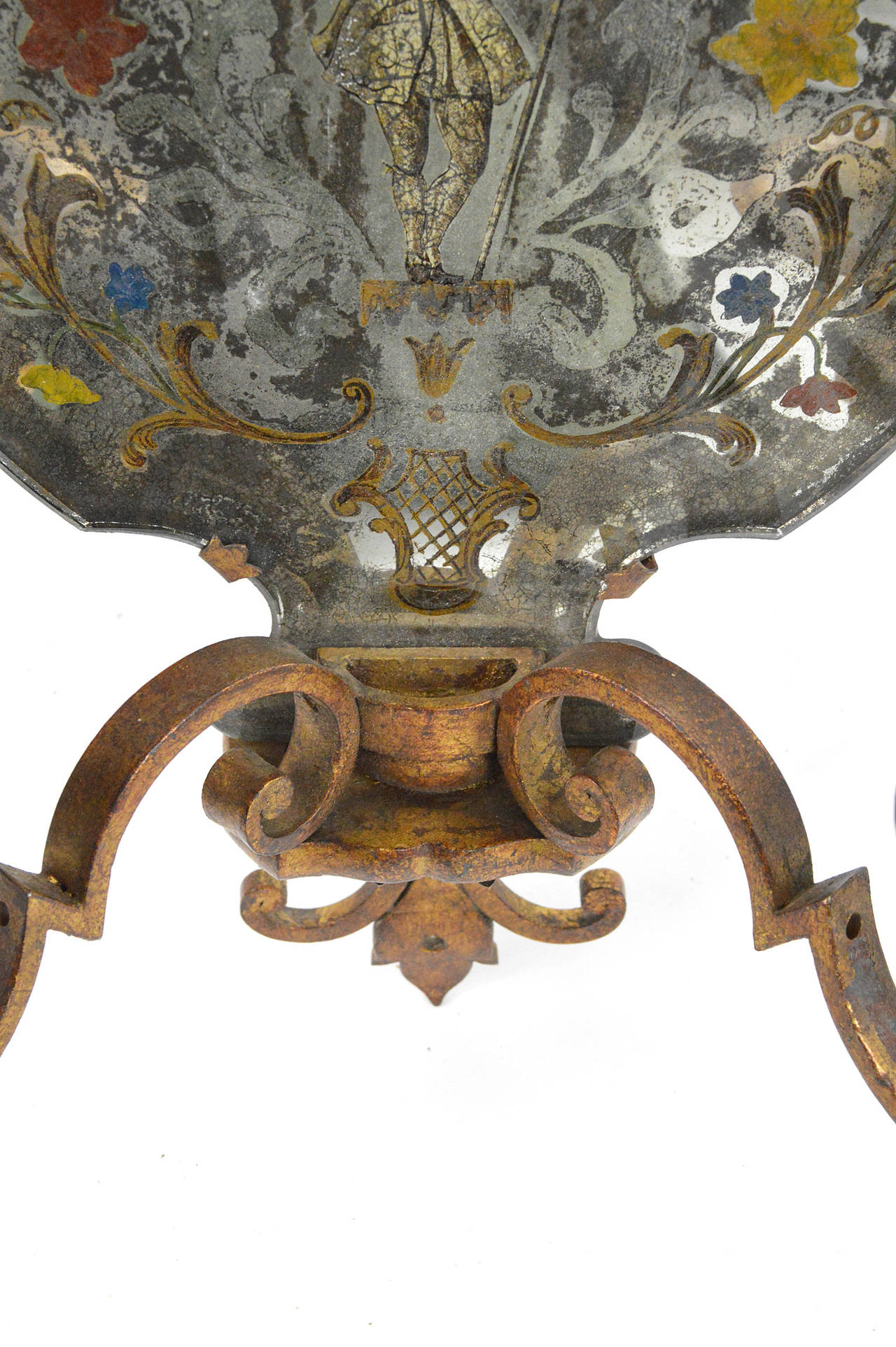 Pair of Venetian Style Mirrored Two-Arm Wall Sconces For Sale 1