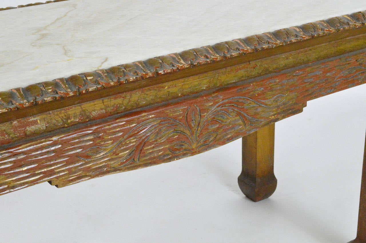 Chinese Chippendale Carved Wood Accent Table with Inset Marble Top For Sale 1