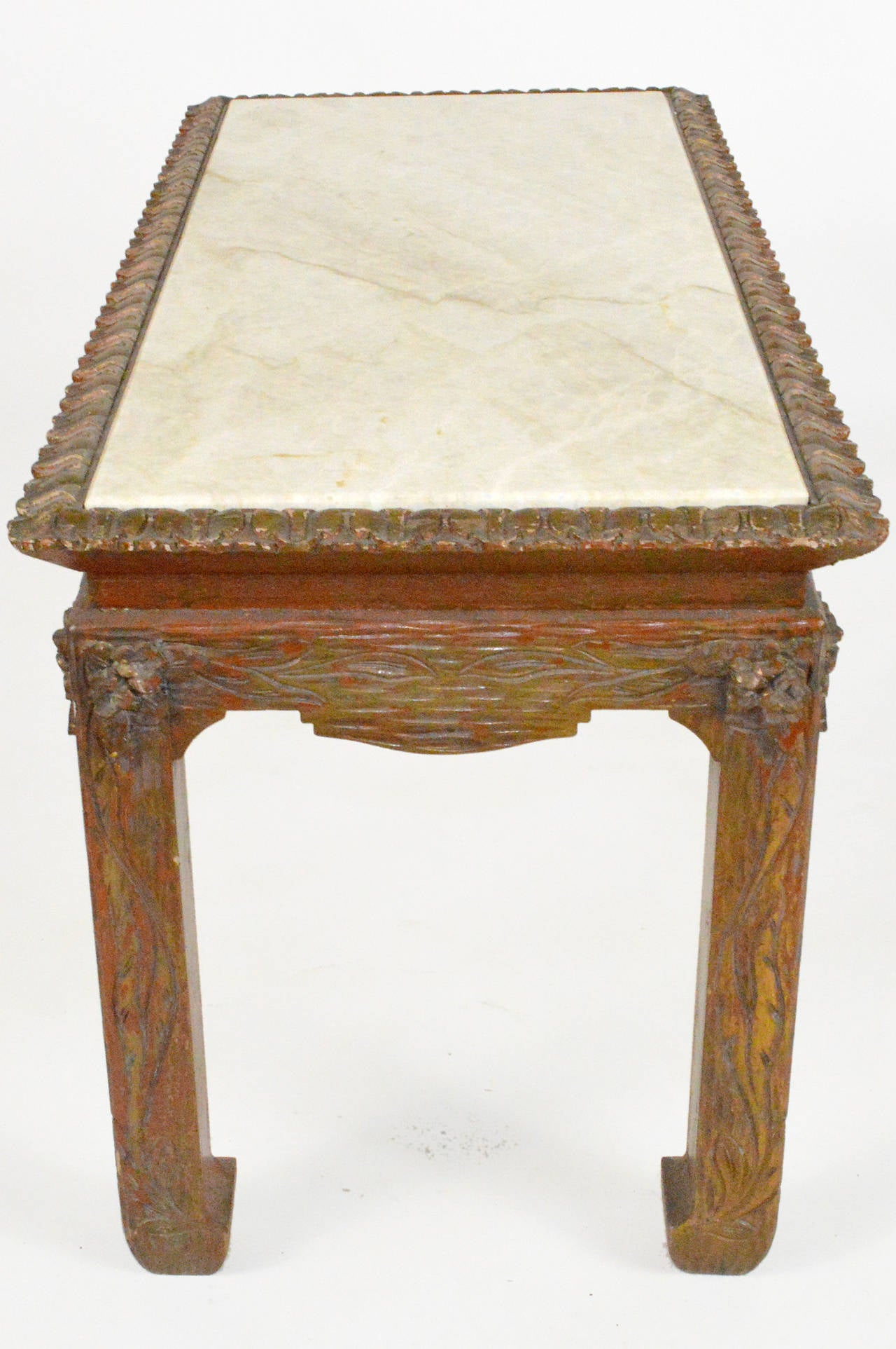 Engraved Limestone Inlay : Chinese chippendale carved wood accent table with inset