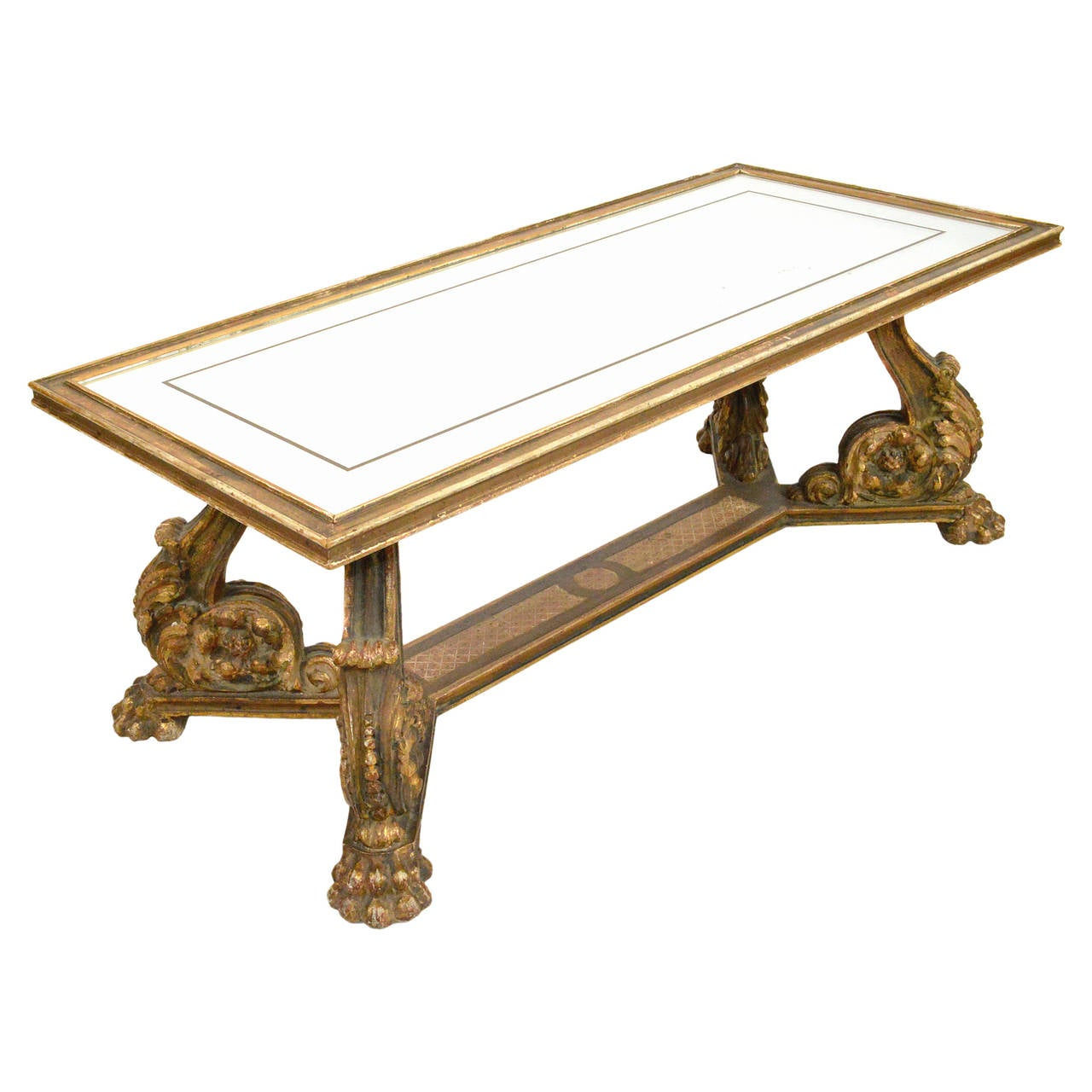 Italian Giltwood And Mirrored Glass Top Coffee Table At 1stdibs