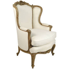 Early 20th Century French Louis XV Style Painted Wingback Armchair