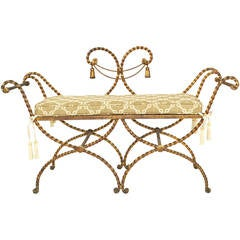20th Century Italian Hollywood Regency Style Rope and Tassel Bench