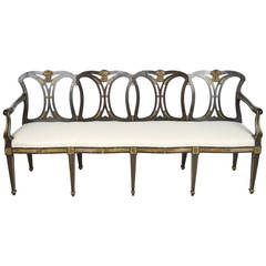 19th Century Italian Neoclassical Style Black Painted and Parcel-Gilt Bench