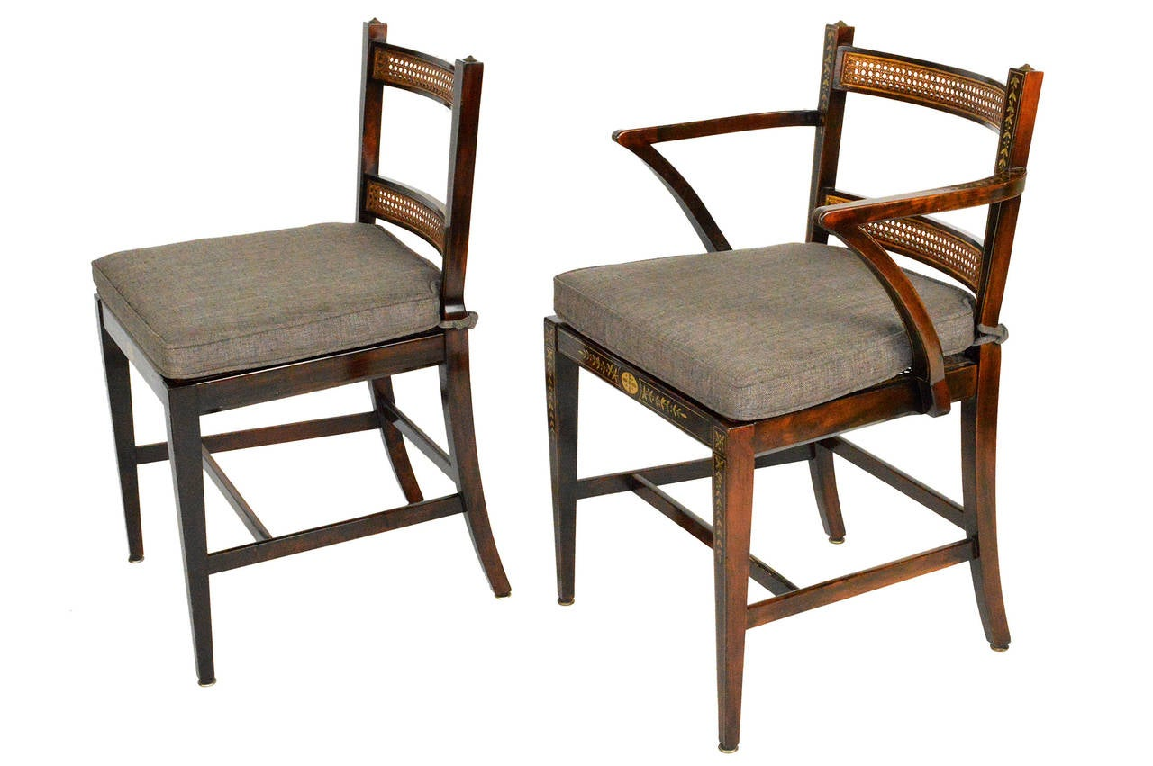American Set of Six Regency Style Dining Chairs For Sale