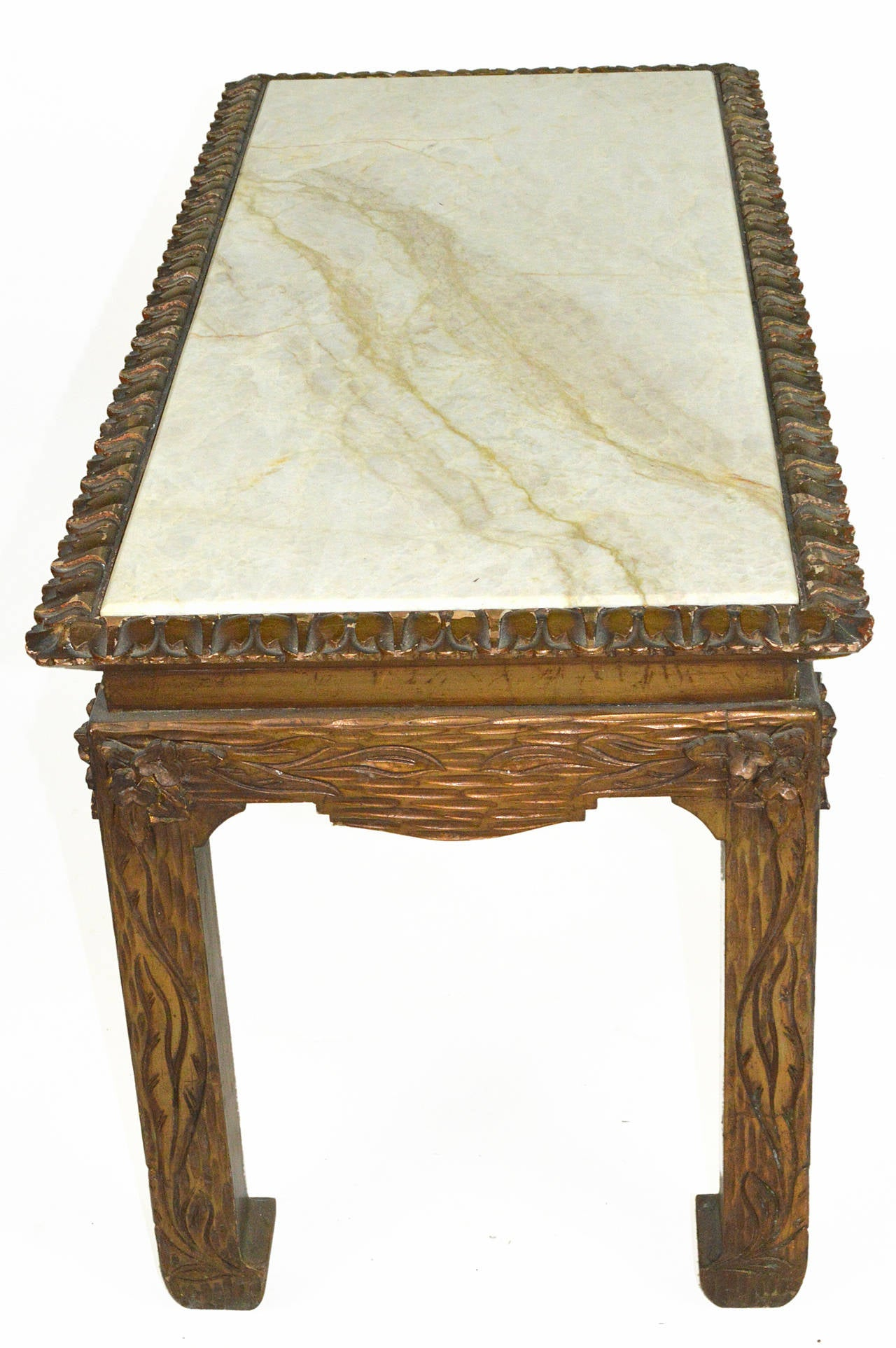 American Chinese Chippendale Carved Wood Accent Table with Inset Marble Top For Sale