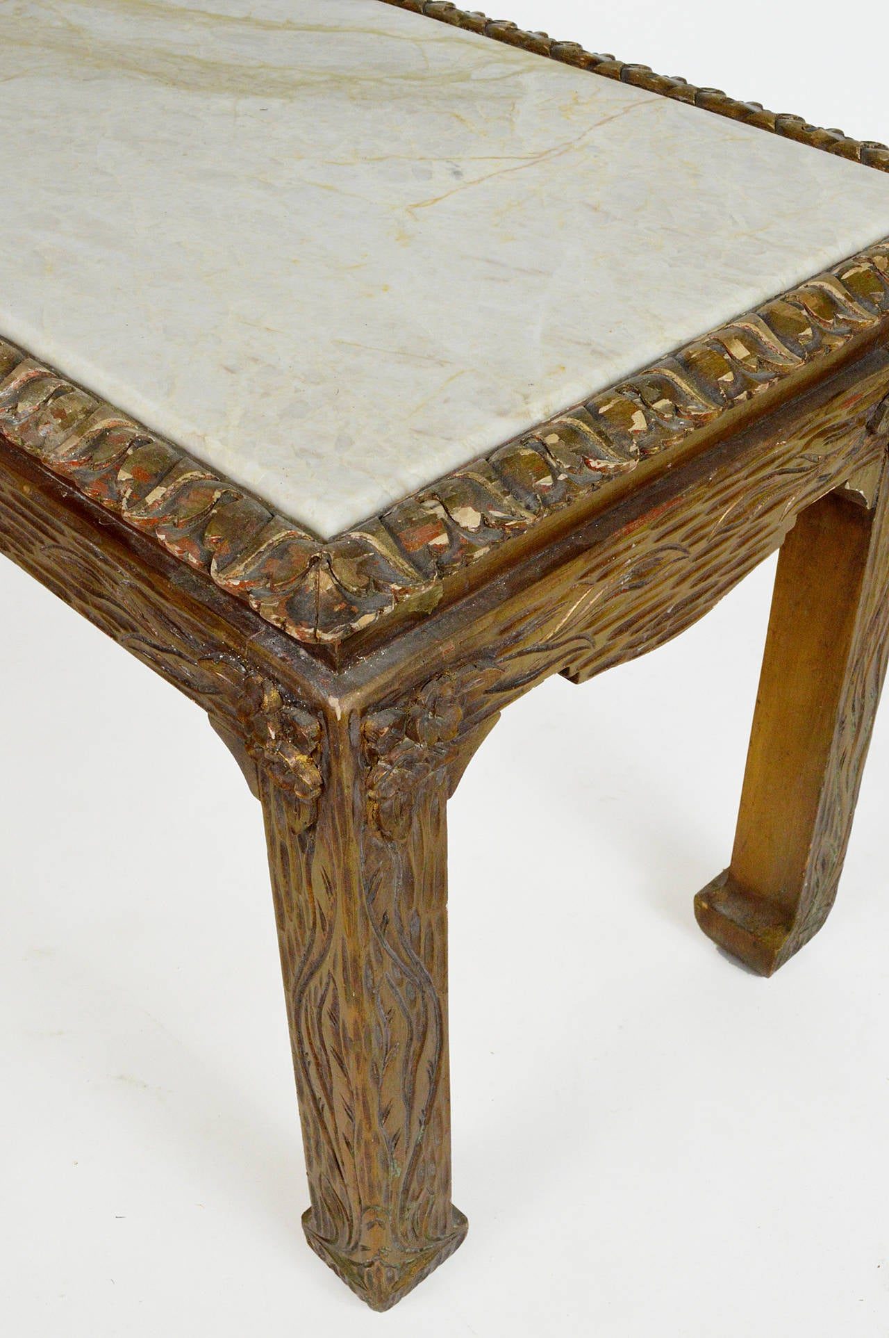 20th Century Chinese Chippendale Carved Wood Accent Table with Inset Marble Top For Sale