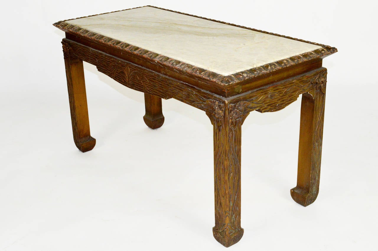 Chinese Chippendale Carved Wood Accent Table with Inset Marble Top For Sale 2