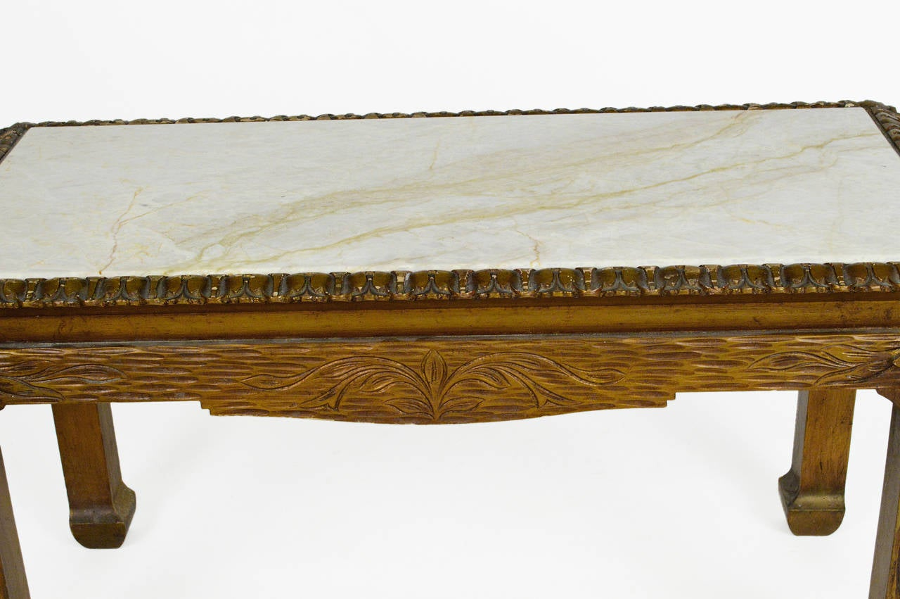 Chinese Chippendale Carved Wood Accent Table with Inset Marble Top For Sale 3
