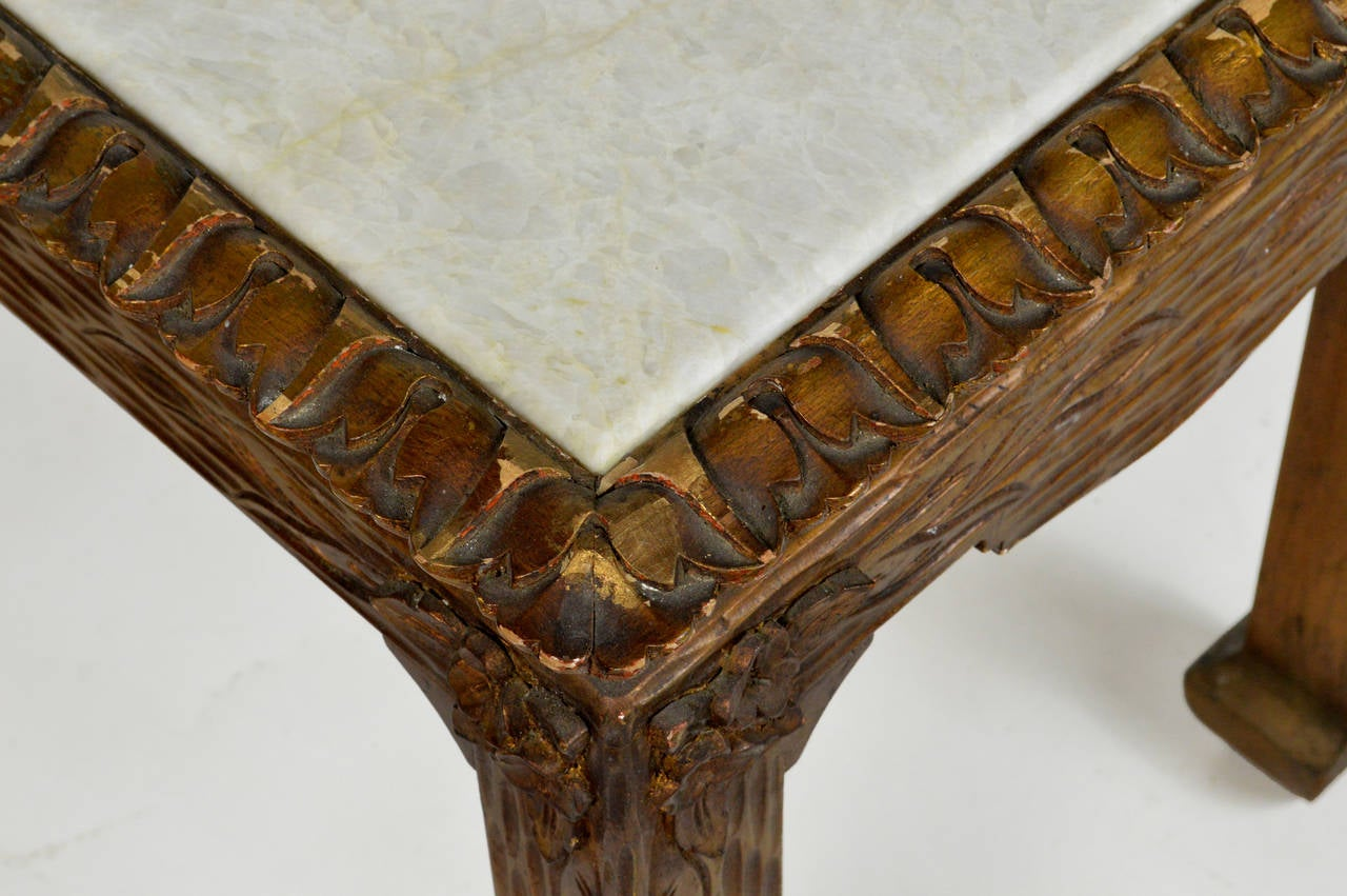 Chinese Chippendale Carved Wood Accent Table with Inset Marble Top For Sale 4