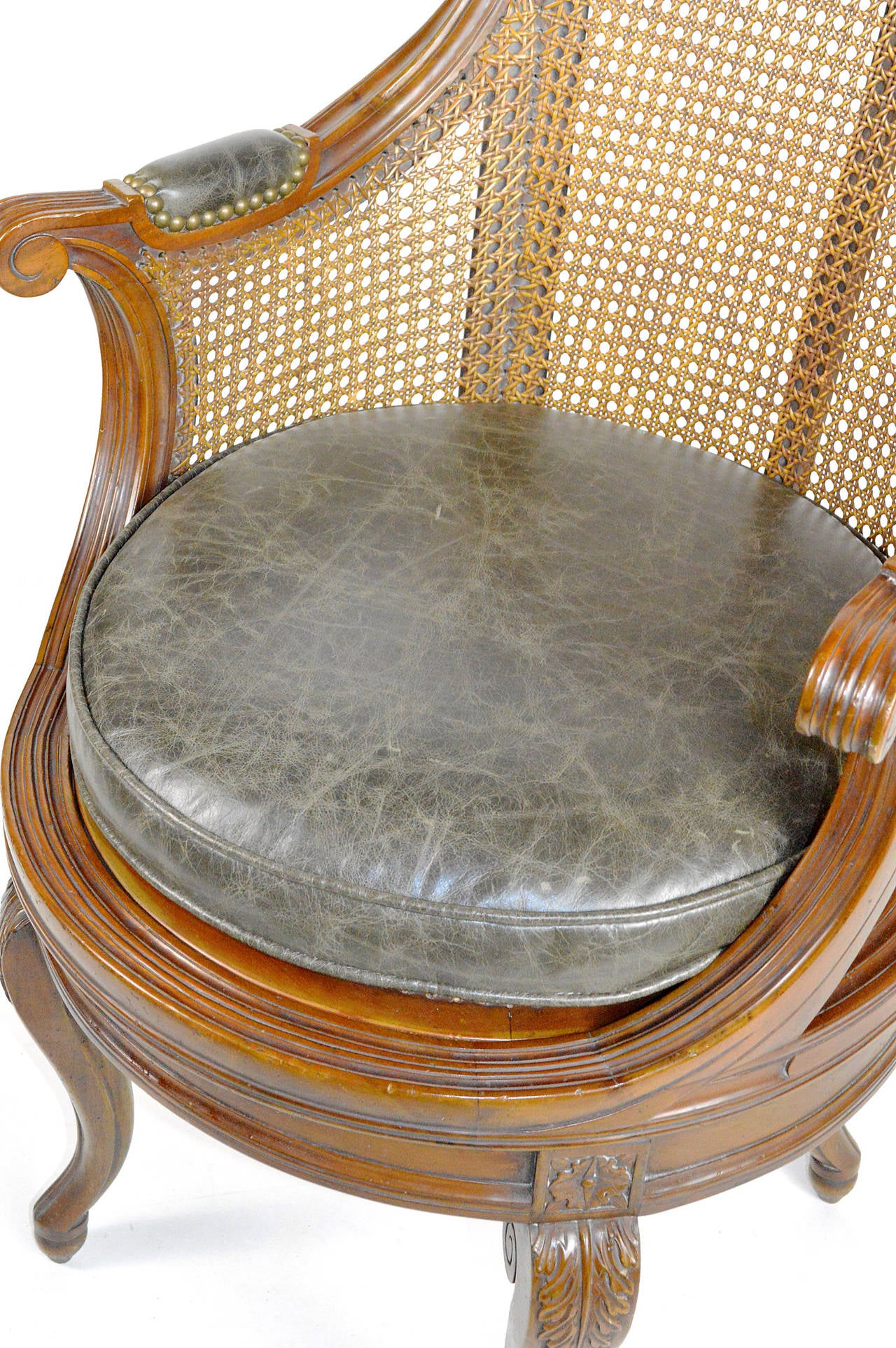 Louis XV Style Cane and Walnut Swivel Barrel Back Armchair For Sale 4