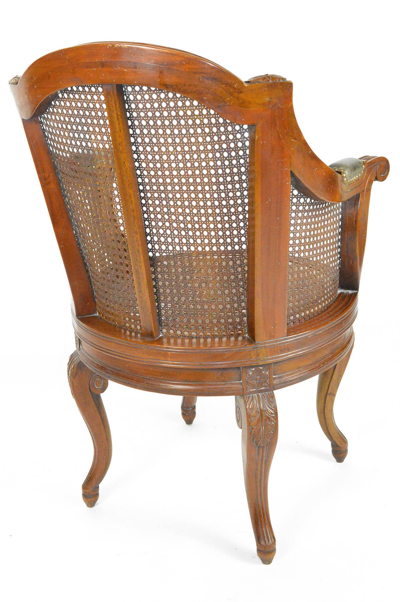 20th Century Louis XV Style Cane and Walnut Swivel Barrel Back Armchair For Sale