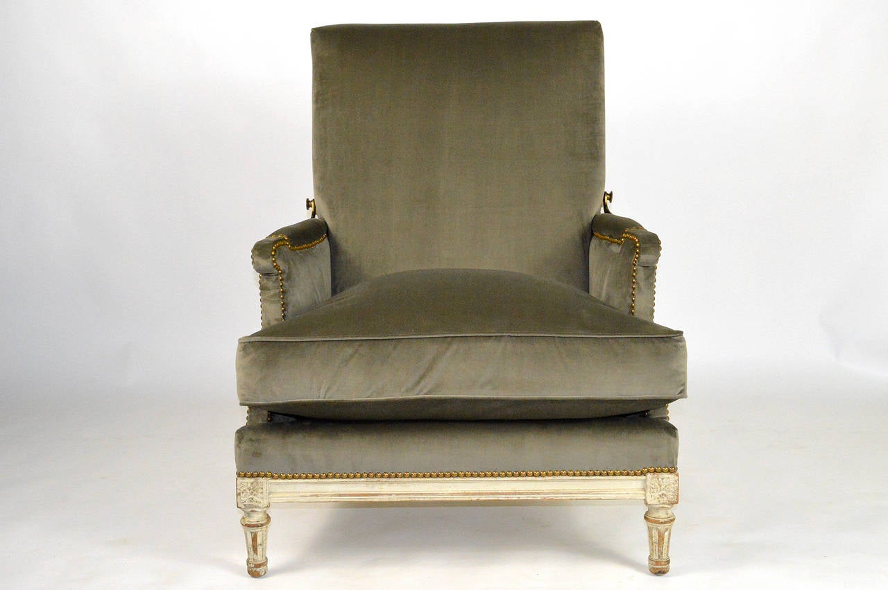 19th Century French Louis XVI Ratchet Reclinable Armchair In Good Condition  For Sale In Atlanta,