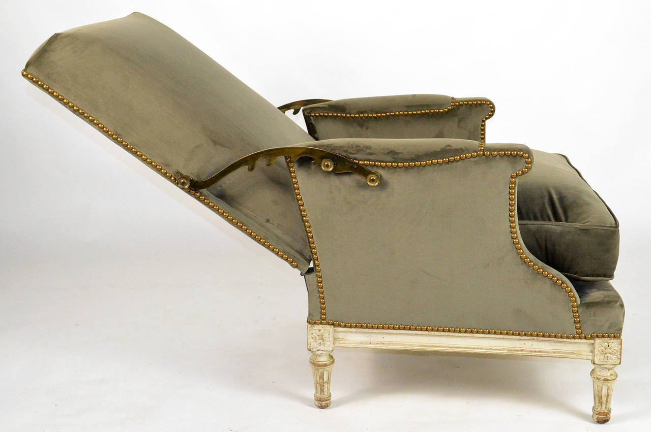 19th Century French Louis XVI Ratchet Reclinable Armchair 7