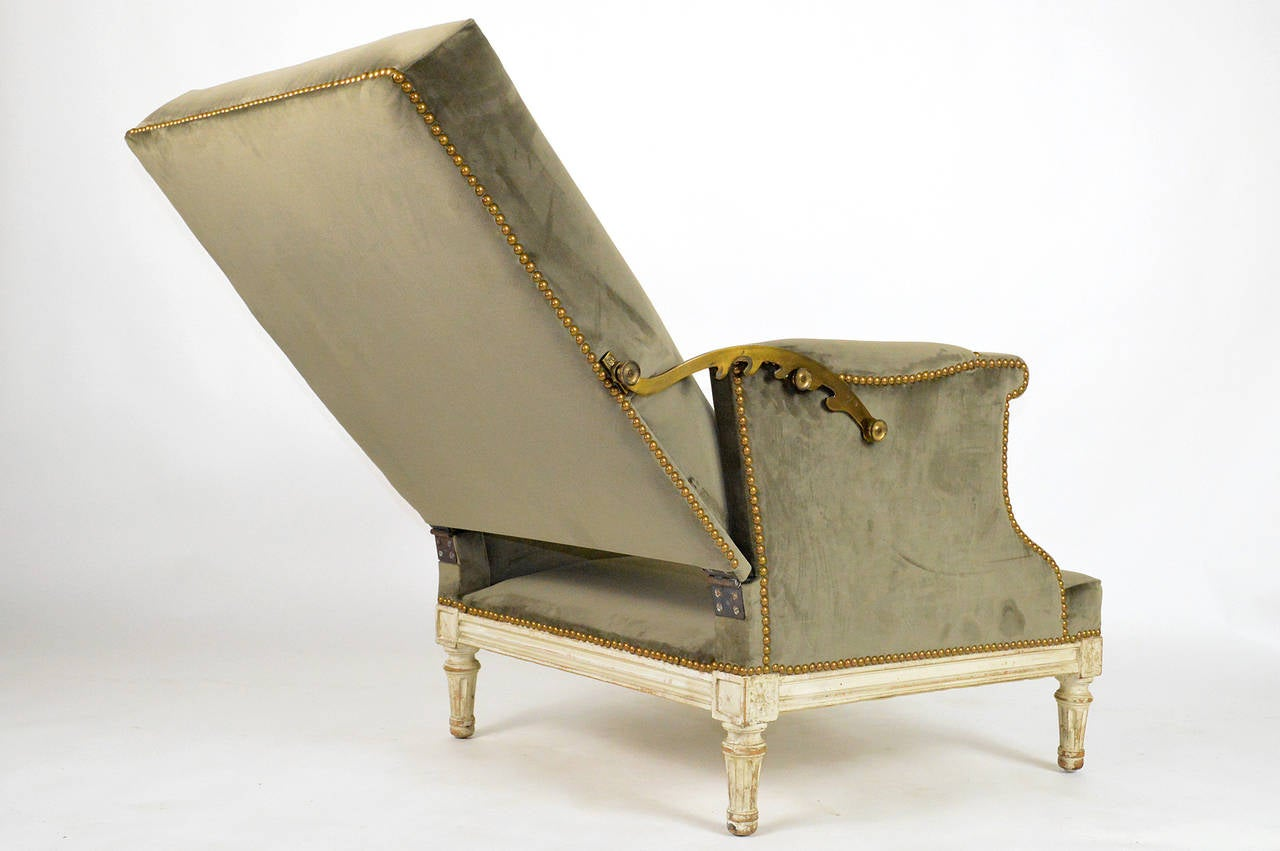 19th Century French Louis XVI Ratchet Reclinable Armchair 9