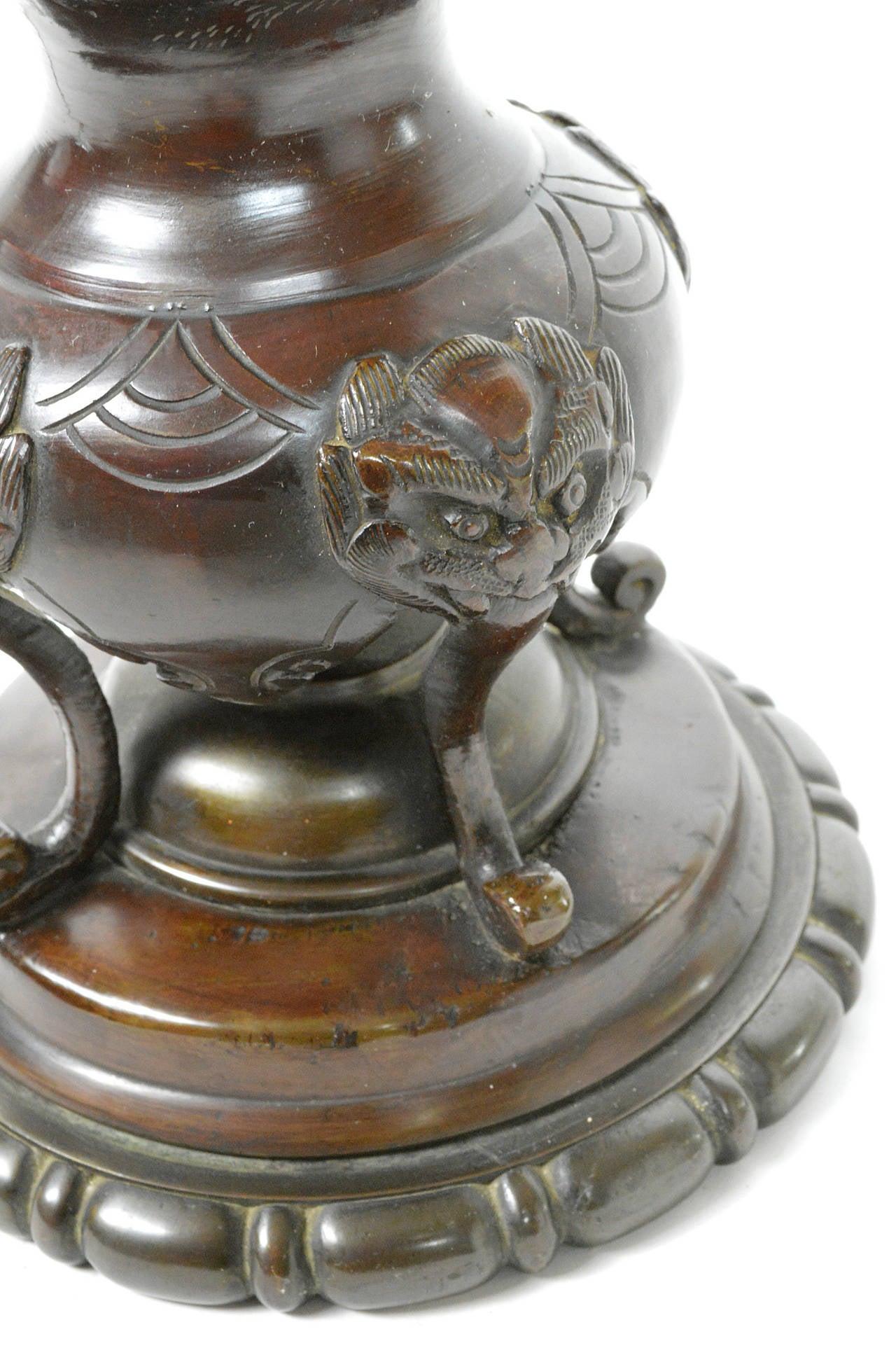 Japanese Meiji Period Bronze Urn Lamp 8
